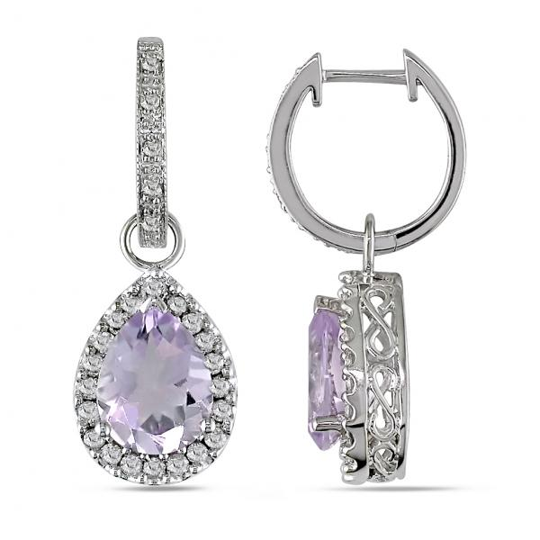Diamond Halo Pear Shaped Kunzite Drop Earrings 14k White Gold (3.70ct)