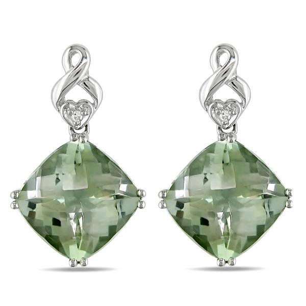 Diamond & Cushion Cut Green Amethyst Drop Earrings 14k W. Gold 8.00ct