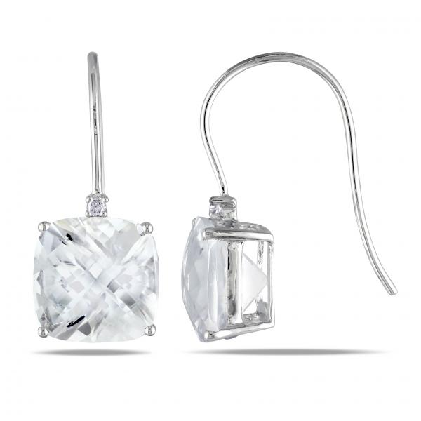 Cushion Cut White Topaz & Diamond Drop Earrings 14k White Gold 10.50ct