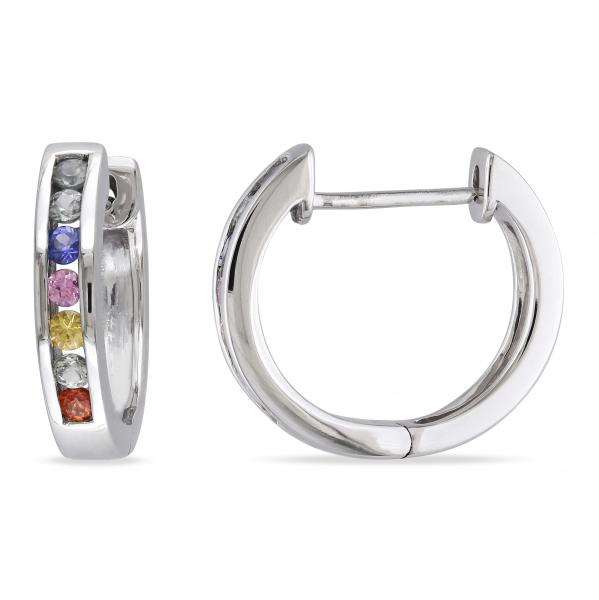 Seven Stone Rainbow Sapphire Huggie Earrings in 14k White Gold 0.20ct