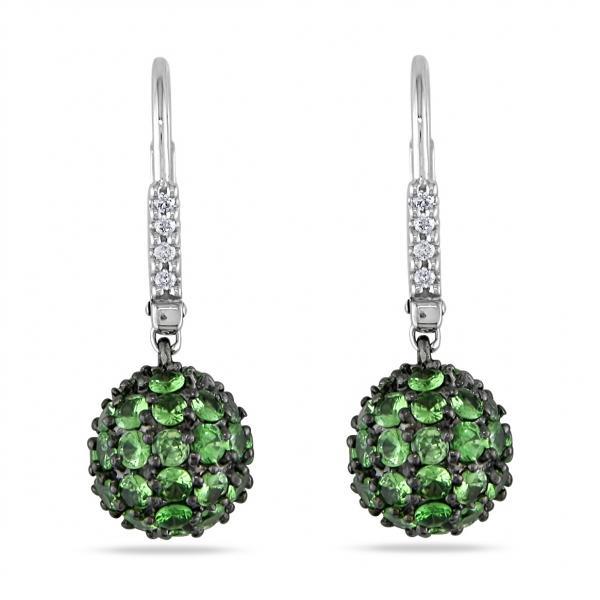 Tsavorite & Diamond Ball Cluster Earrings in 14k White Gold (3.50ct)