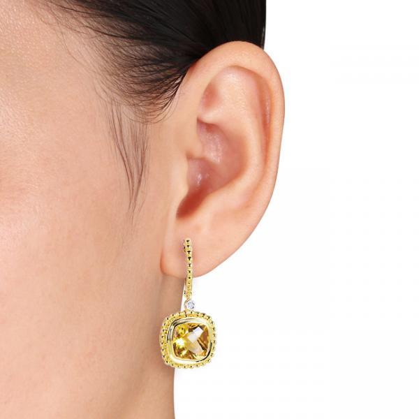 Cushion Cut Citrine & Diamond Dangle Earrings 14k Yellow Gold (5.80ct)