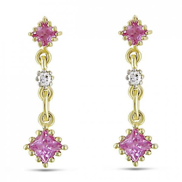 Cushion Cut Pink Sapphire Diamond Dangle Earrings 14k Y. Gold 0.50ct