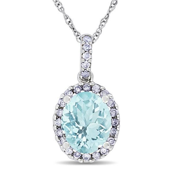 Aquamarine & Halo Diamond Pendant Necklace in 14k White Gold 2.00ct