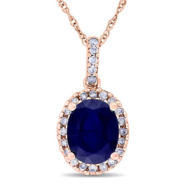 Blue Sapphire & Halo Diamond Pendant Necklace in 14k Rose Gold 2.90ct