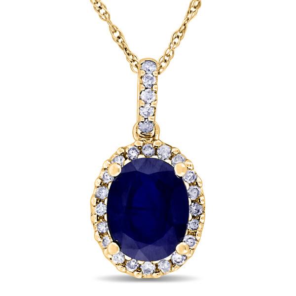 Blue Sapphire & Halo Diamond Pendant Necklace in 14k Yellow Gold 2.90ct