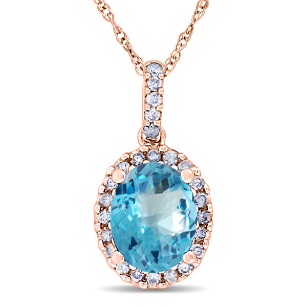 Blue Topaz & Halo Diamond Pendant Necklace in 14k Rose Gold 2.74ct