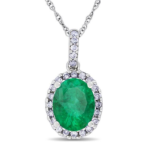 Emerald & Halo Diamond Pendant Necklace in 14k White Gold 2.14ct