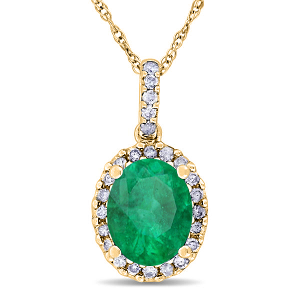 Emerald & Halo Diamond Pendant Necklace in 14k Yellow Gold 2.14ct
