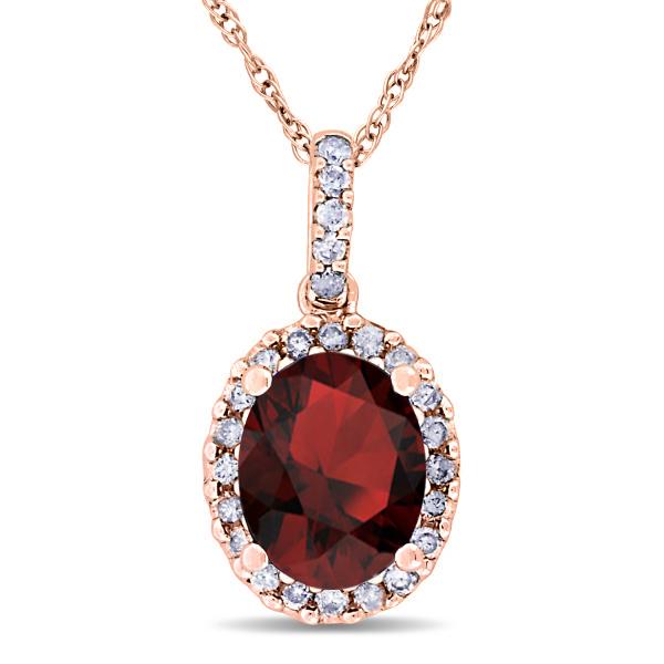 Garnet & Halo Diamond Pendant Necklace in 14k Rose Gold 2.34ct