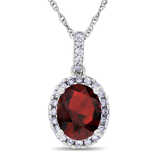 Garnet & Halo Diamond Pendant Necklace in 14k White Gold 2.34ct