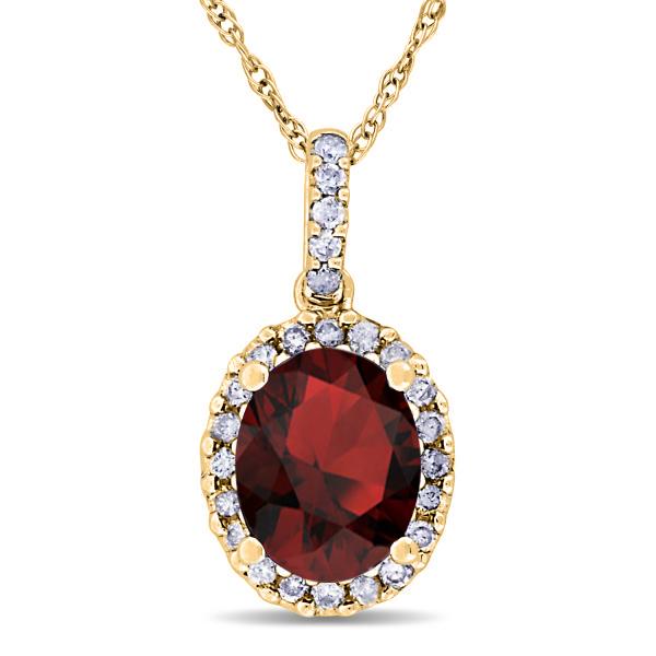 Garnet & Halo Diamond Pendant Necklace in 14k Yellow Gold 2.34ct