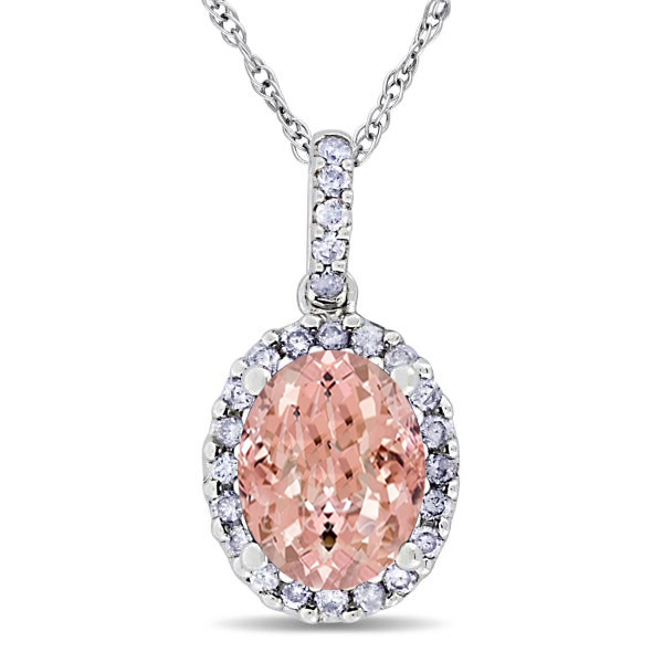 Morganite & Halo Diamond Pendant Necklace in 14k White Gold 2.84ct