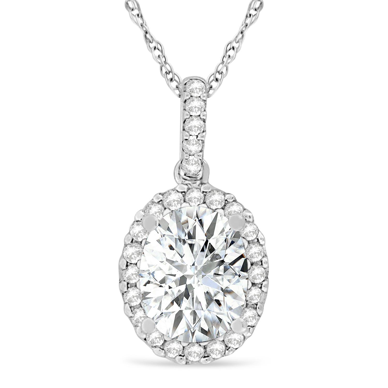 Moissanite & Halo Diamond Pendant Necklace in 14k White Gold 1.91ct