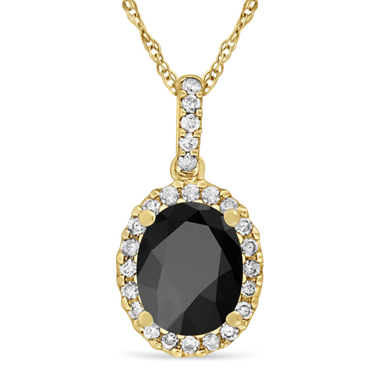 Onyx & Halo Diamond Pendant Necklace in 14k Yellow Gold 2.14ct