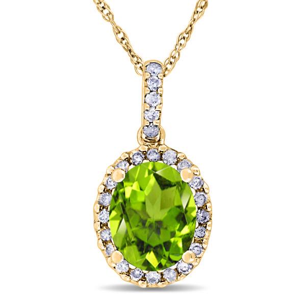 Peridot & Halo Diamond Pendant Necklace in 14k Yellow Gold 2.24ct