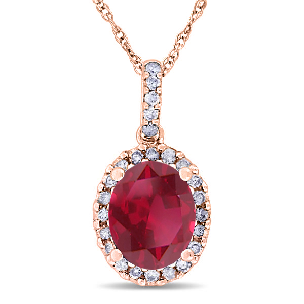 Ruby & Halo Diamond Pendant Necklace in 14k Rose Gold 2.44ct