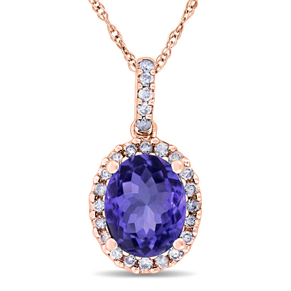 Tanzanite & Halo Diamond Pendant Necklace in 14k Rose Gold 2.44ct