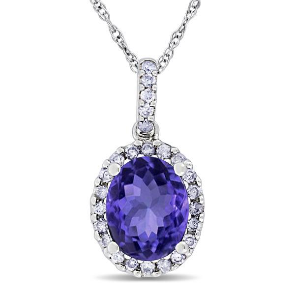 Tanzanite & Halo Diamond Pendant Necklace in 14k White Gold 2.44ct