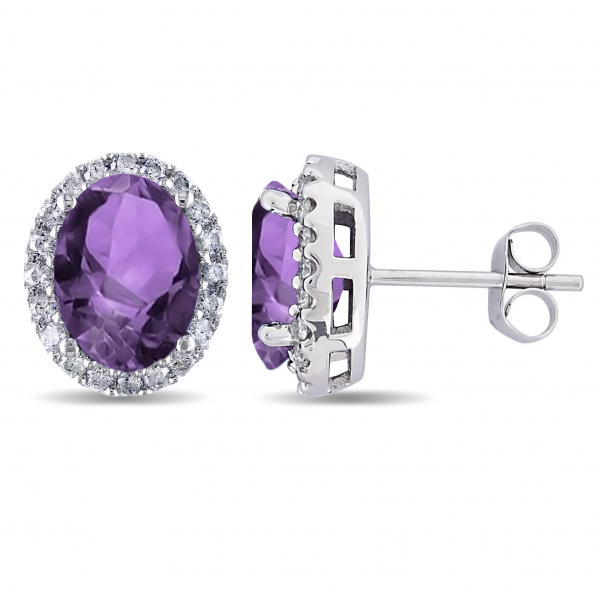 Oval Amethyst & Halo Diamond Stud Earrings 14k White Gold 3.92ct