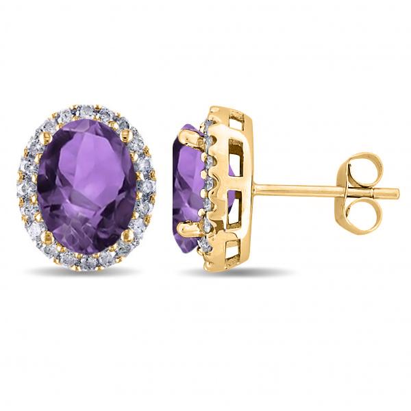 Oval Amethyst & Halo Diamond Stud Earrings 14k Yellow Gold 3.92ct