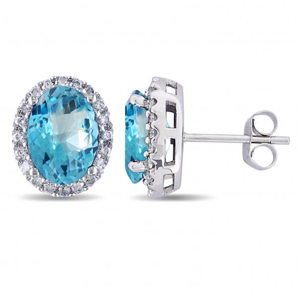 Oval Blue Topaz & Halo Diamond Stud Earrings 14k White Gold 5.40ct