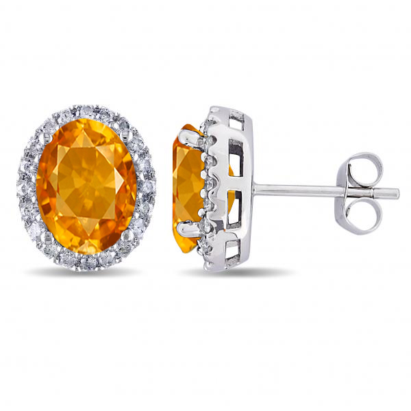 Oval Citrine & Halo Diamond Stud Earrings 14k White Gold 3.92ct