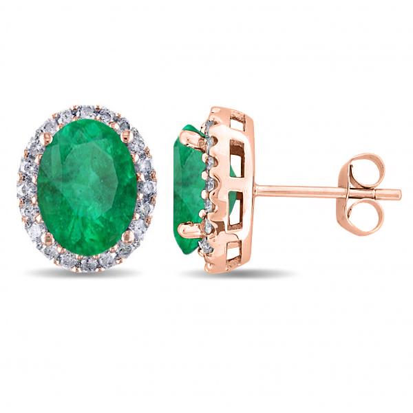 Oval Emerald & Halo Diamond Stud Earrings 14k Rose Gold 4.20ct