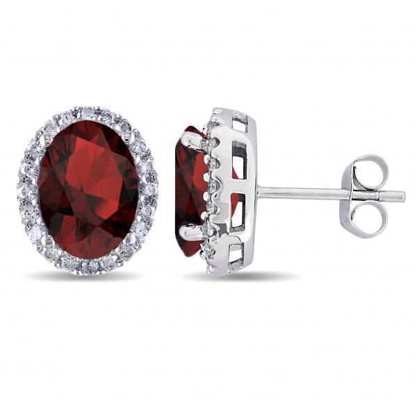 Oval Garnet & Halo Diamond Stud Earrings 14k White Gold 4.60ct