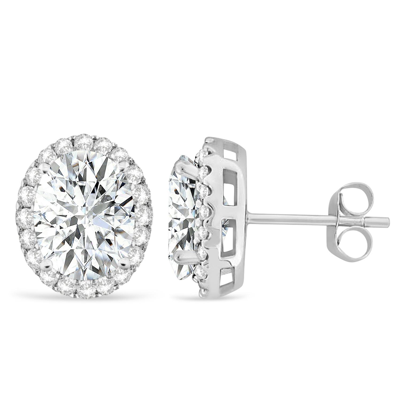 Oval Moissanite & Halo Diamond Stud Earrings 14k White Gold 3.82ct