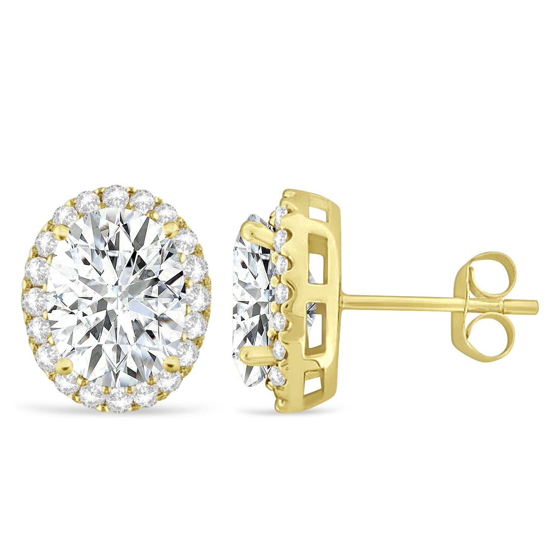 Oval Moissanite & Halo Diamond Stud Earrings 14k Yellow Gold 3.82ct