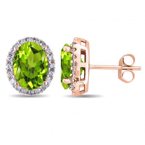 Oval Peridot & Halo Diamond Stud Earrings 14k Rose Gold 4.40ct