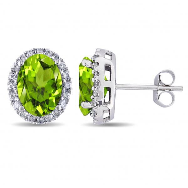 Oval Peridot & Halo Diamond Stud Earrings 14k White Gold 4.40ct
