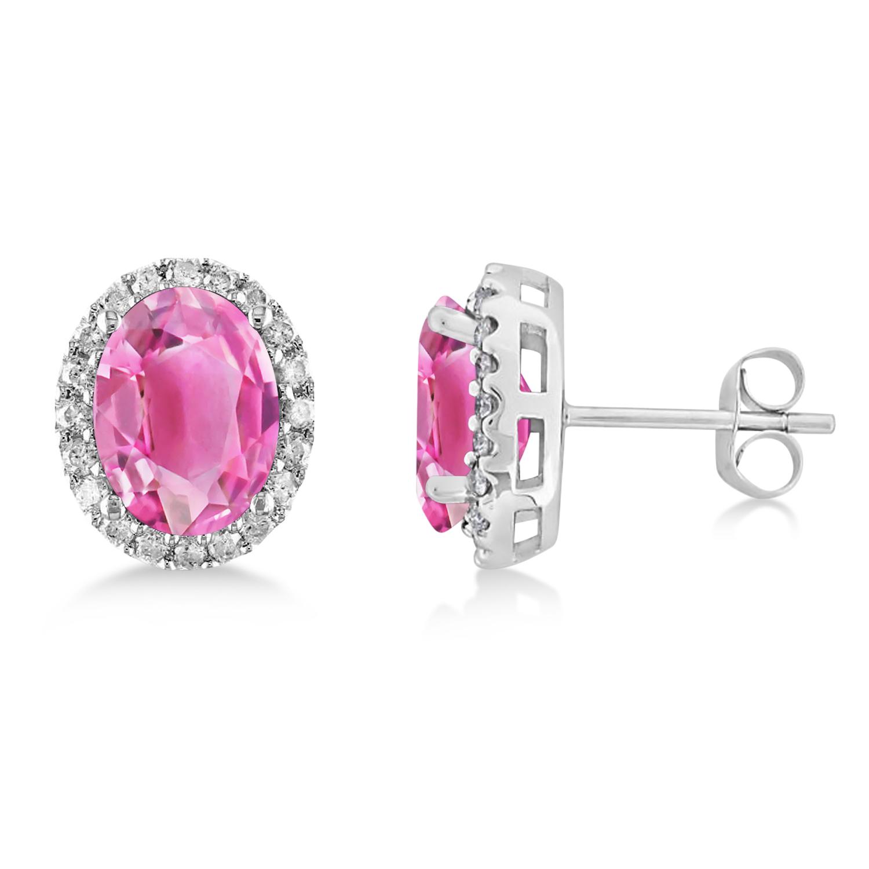 Oval Pink Tourmaline & Halo Diamond Stud Earrings 14k White Gold 5.00ct