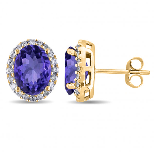 Oval Tanzanite & Halo Diamond Stud Earrings 14k Yellow Gold 4.80ct