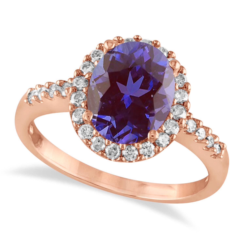 Oval Lab Alexandrite & Halo Diamond Engagement Ring 14k Rose Gold 2.82ct