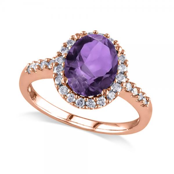 Oval Amethyst & Halo Diamond Engagement Ring 14k Rose Gold 2.82ct
