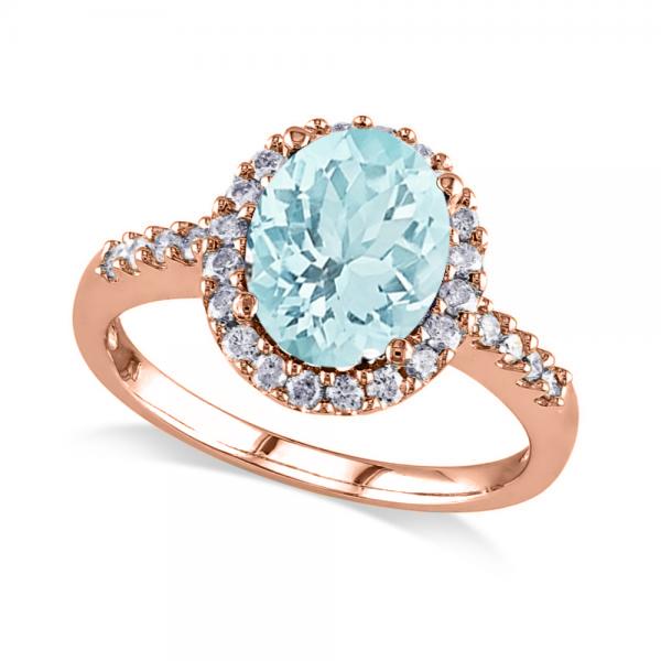 Oval Aquamarine & Halo Diamond Engagement Ring 14k Rose Gold 2.67ct
