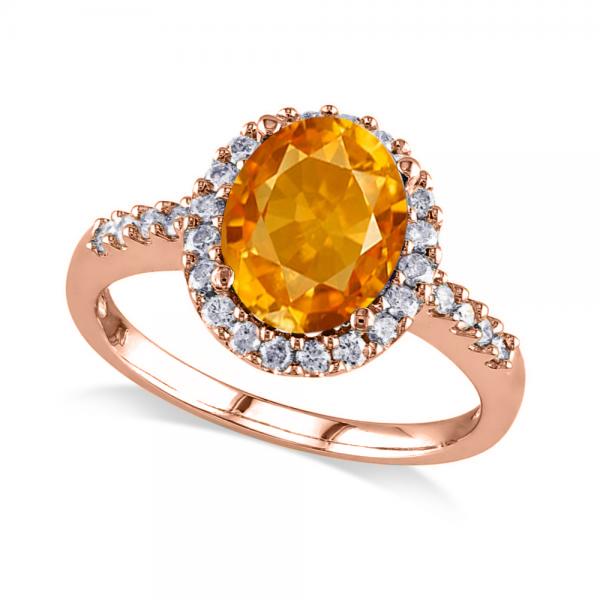 Oval Citrine & Halo Diamond Engagement Ring 14k Rose Gold 2.82ct