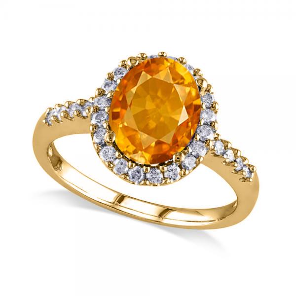 Oval Citrine & Halo Diamond Engagement Ring 14k Yellow Gold 2.82ct