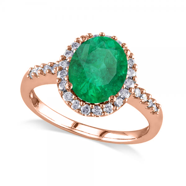 Oval Emerald & Halo Diamond Engagement Ring 14k Rose Gold 3.02ct