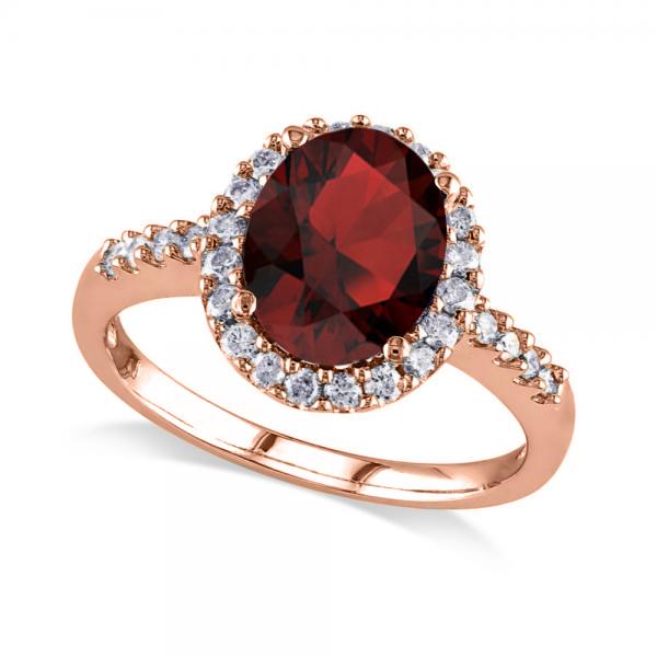 Oval Garnet & Halo Diamond Engagement Ring 14k Rose Gold 3.22ct
