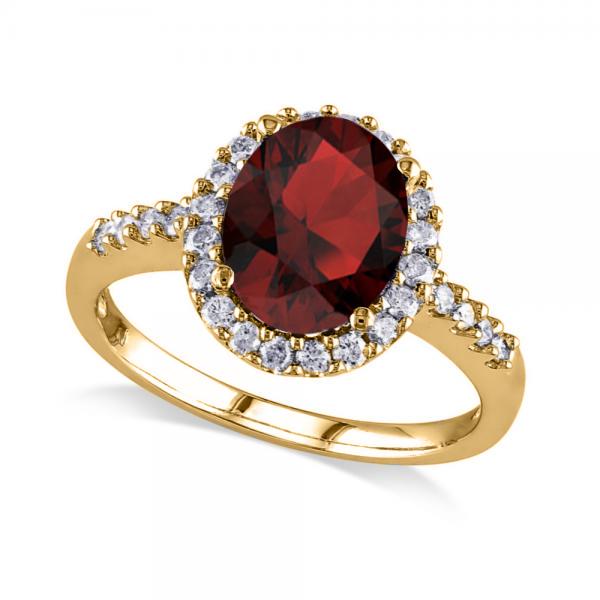 Oval Garnet & Halo Diamond Engagement Ring 14k Yellow Gold 3.22ct