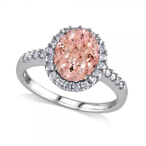 Oval Morganite & Halo Diamond Engagement Ring 14k White Gold 3.57ct