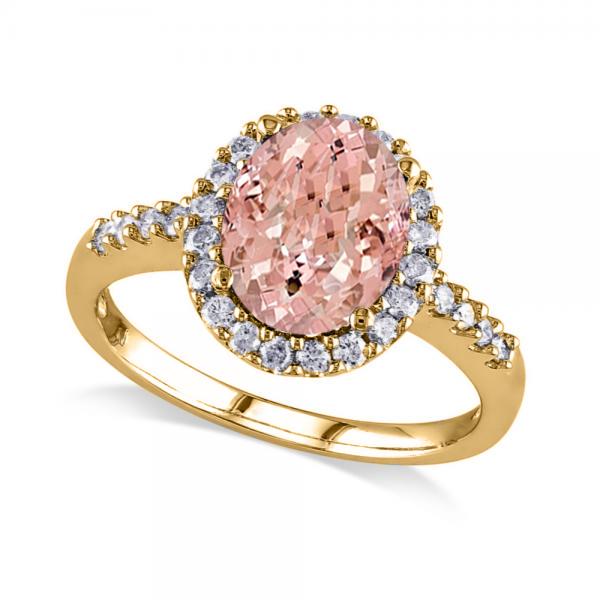 Oval Morganite & Halo Diamond Engagement Ring 14k Yellow Gold 3.57ct