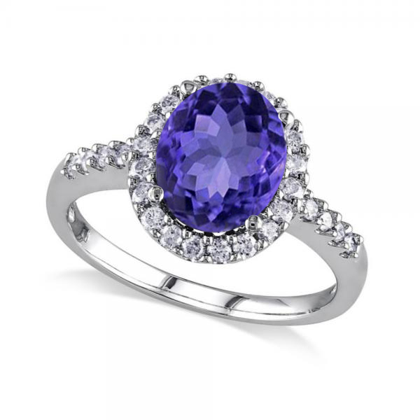 Oval Tanzanite & Halo Diamond Engagement Ring 14k White Gold 3.57ct