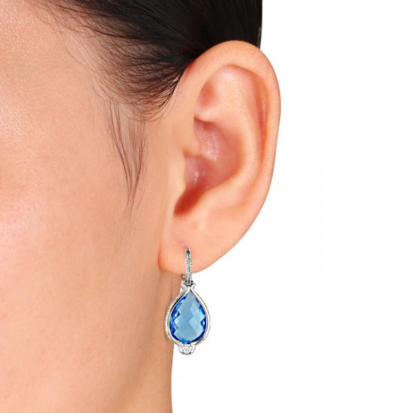 Pear Shaped Blue Topaz Diamond Drop Earrings in 14k White Gold 17.90ct