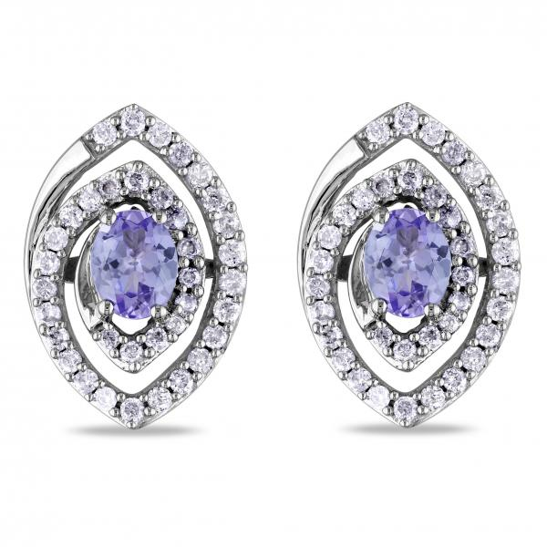 Oval Tanzanite & Diamond Swirl Stud Earrings in 14k White Gold 1.00ct