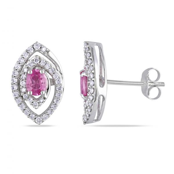 Oval Pink Sapphire & Diamond Stud Earrings in 14k White Gold (1.30ct)