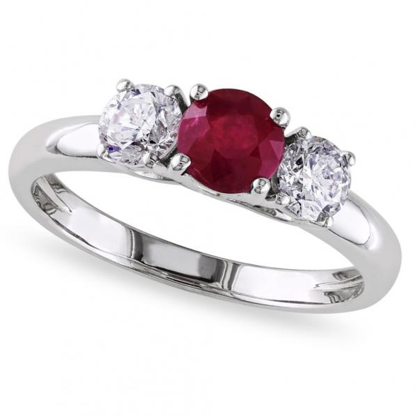 Ruby & Diamond Three Stone Engagement Ring in 14k White Gold (1.10ct)